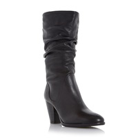 Dune Rossy Slouchy Leather Pull On Calf Boots Black Leather