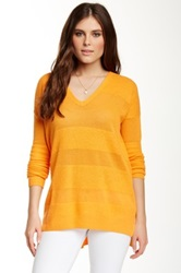 Splendid Loop Stitch V Neck Sweater Orange