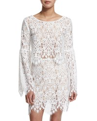 For Love And Lemons Vika Long Sleeve Lace Crop Top Ivory