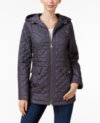 Laundry By Design Impulse Hooded Quilted Coat Grey Melange