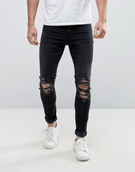 New Look Super Skinny Jeans With Ripped Knees In Black Wash Black