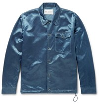 Our Legacy Cotton Blend Satin Coach Jacket Indigo