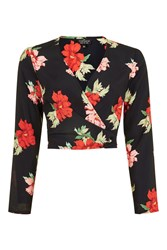 Topshop Tall Red Rose Wrap Top Black