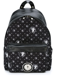 Versus Lion Monogram Print Backpack Black