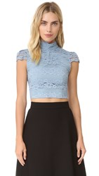 Alice Olivia Julia Lace Crop Top Light Blue