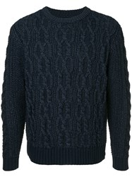 Coohem Stretch Cable Knit Sweater Blue