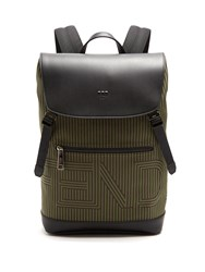 Fendi Optical Striped Canvas And Leather Backpack Green Multi