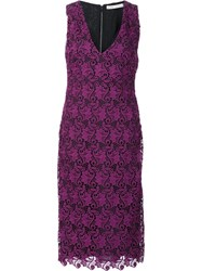 Alice Olivia V Neck Lace Dress Pink Purple