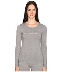 Emporio Armani Visibility Stretch Cotton Long Sleeve T Shirt Dark Grey Melange Women's T Shirt Black