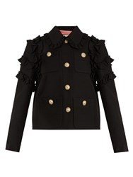 Gucci Ruffle Trimmed Silk And Wool Blend Jacket 1276 Black