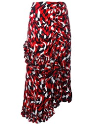 Marni Shatter Print Ruffled Skirt Red