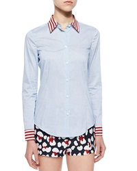Red Valentino Micro Striped Voile Shirt
