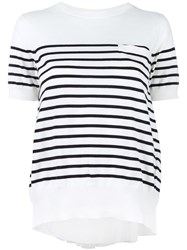 Sacai Striped Cupro Insert T Shirt White