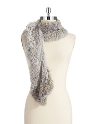 Surell Rabbit Fur Scarf Chinchilla