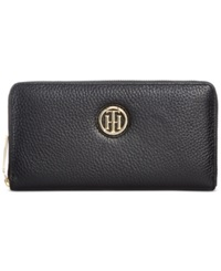 Tommy Hilfiger Lucky Charm Large Pebble Leather Zip Around Wallet Black