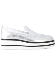 Hogan Metallic Grey Loafers Women Leather Rubber 38.5