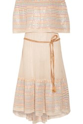 Miguelina Amaya Off The Shoulder Striped Cotton Blend Midi Dress Cream