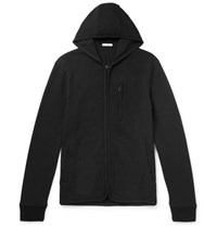 James Perse Slim Fit Cotton Blend Fleece Zip Up Hoodie Black