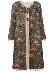 Shirtaporter Floral Fitted Coat Green