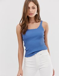 Mango Square Neck Knitted Vest Top In Blue