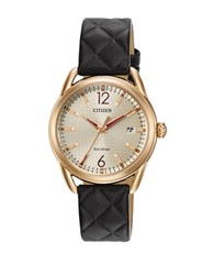 Citizen Drive Quilted Leather Strap Watch Black