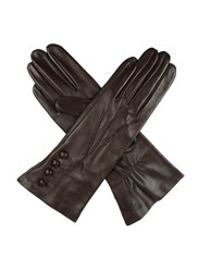 Dents Ladies Silk Lined Button Detail Leather Glove Brown