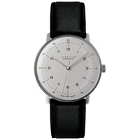 Junghans 027 3500.00 Men's Max Bill Automatic Leather Strap Watch Black White