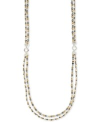 Nine West Tri Tone Beaded Long Layer Necklace Multi
