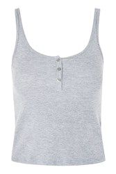 Topshop Tall Button Front Vest Top Grey