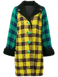 Versace Vintage 1990'S Oversized Checked Coat Yellow