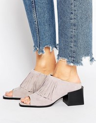 Sol Sana Fringe Suede Mid Heeled Mules Dust Suede Grey