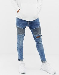 Voi Jeans Super Skinny Biker In Light Blue