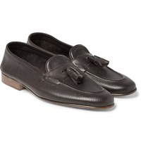 Edward Green Portland Cross Grain Leather Tasselled Loafers Brown