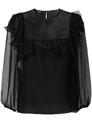 Rochas Sheer Ruffle Trim Blouse Silk Black