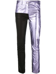 Haider Ackermann Panelled Trousers Women Cotton Leather 36 Pink Purple
