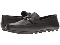Z Zegna Pebble Calf Logo Driver Black Men's Shoes
