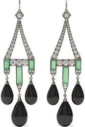 Fred Leighton Collection 18 Karat White Gold Multi Stone Earrings