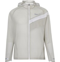 Nike Running Impossibly Light Packable Ripstop Hooded Jacket Light Gray