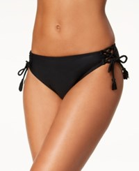 California Waves Lace Up Bikini Bottoms Created For Macy's Swimsuit Black