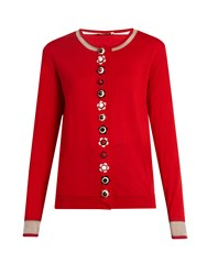 Fendi Flower Button Cashmere Blend Cardigan Red