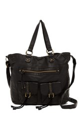 T Shirt And Jeans Double Pocketed Faux Leather Tote Black