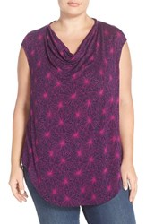 Plus Size Women's Halogen Drape Neck Sleeveless Top Navy Purple Geo Floral