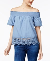 Almost Famous Juniors' Lace Trim Off The Shoulder Top Chambray