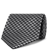 Tom Ford 8Cm Houndstooth Silk Blend Tie Silver