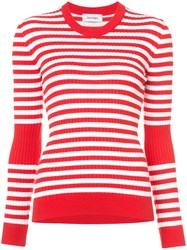 Courreges Striped Knitted Top Cotton Cashmere Red