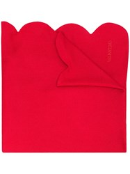 Valentino Cashmere Scalloped Scarf Red