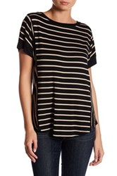 Cable And Gauge Stripe Button Back Tee Gray