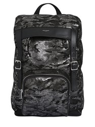 Saint Laurent Lame Camouflage Lather Backpack