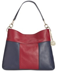 Tommy Hilfiger Th Signature Leather Small Hobo Navy Cabernet