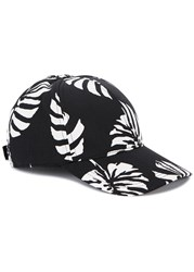 Dolce And Gabbana Black Leaf Print Cotton Blend Cap Black And White